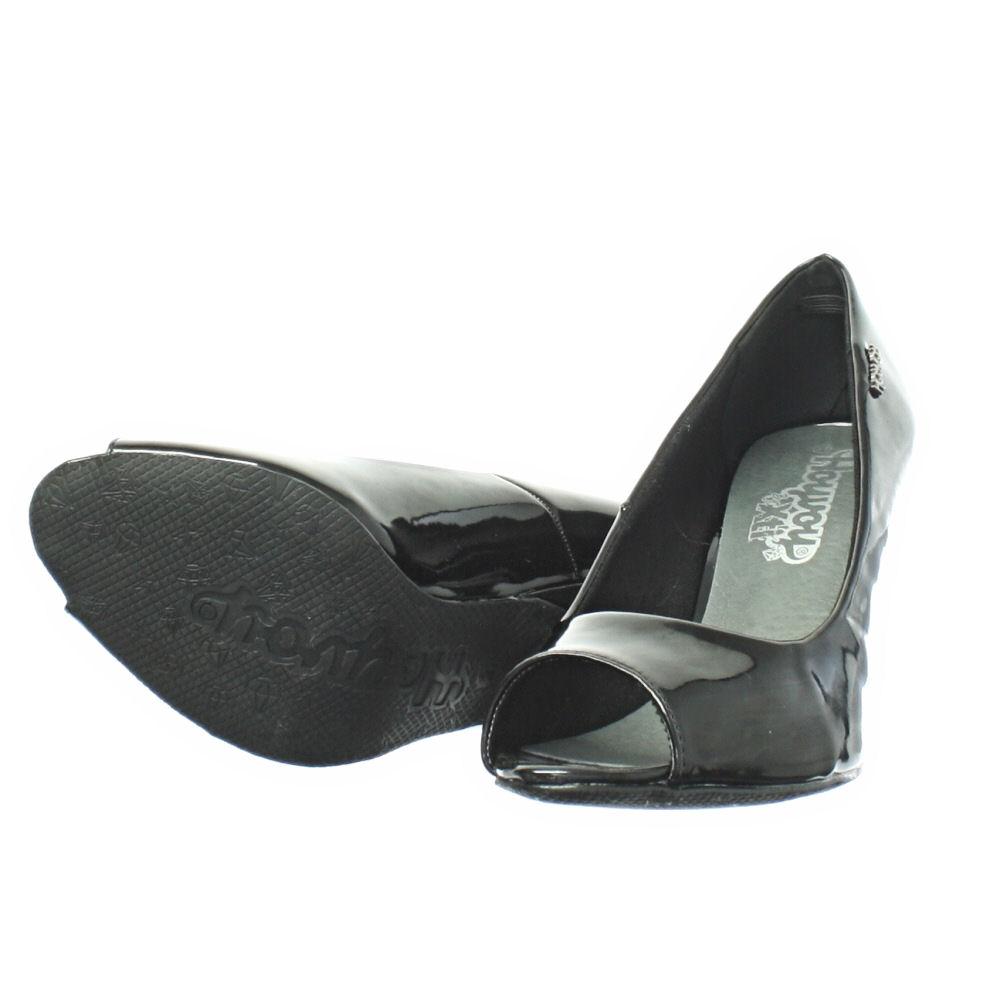 womens xti black patent peep toe low mid heel court shoes