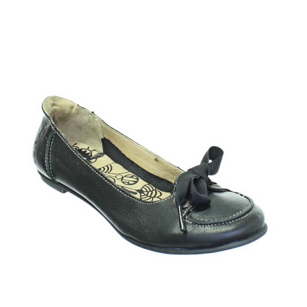 WOMENS-FLY-LONDON-FLASH-BLACK-LEATHER-FLAT-LADIES-BALLERINA-SHOES-SIZE-3-8