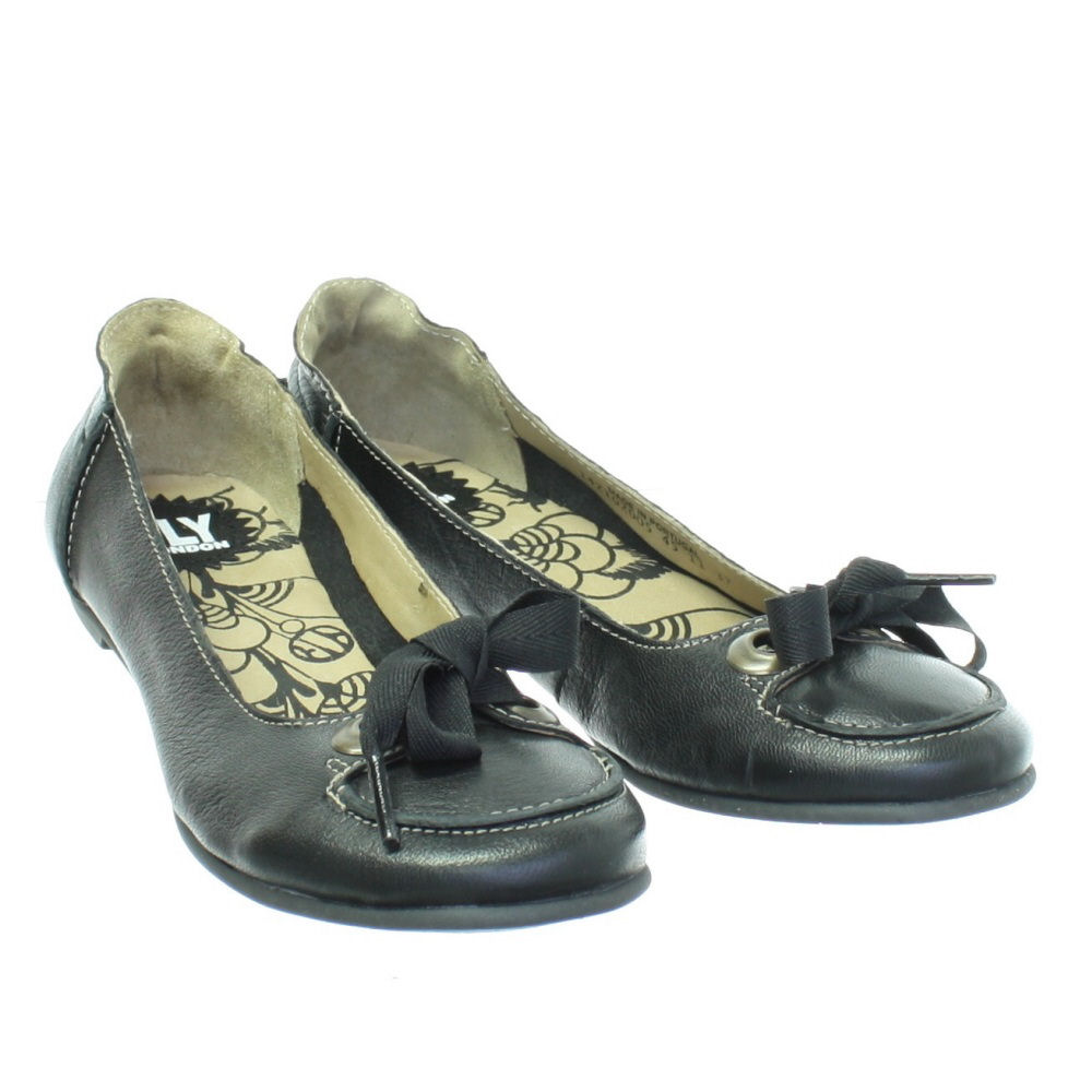 FLY LONDON FLASH BLACK LEATHER FLAT LADIES BALLERINA SHOES SIZE 3-8