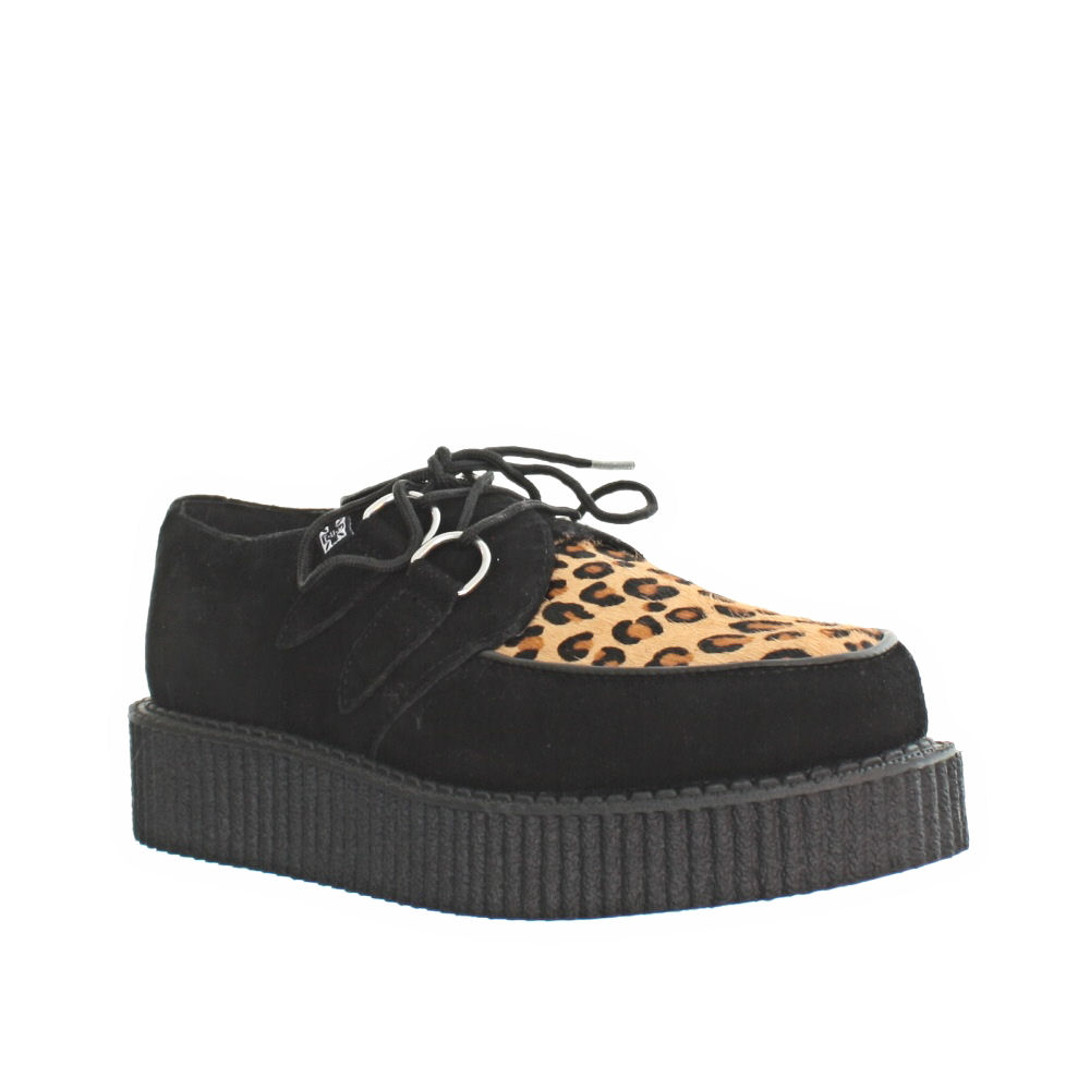 itm WOMENS MENS TUK SHOES MONDO LO SUEDE BLACK LEOPARD BROTHEL CREEPERS SIZE