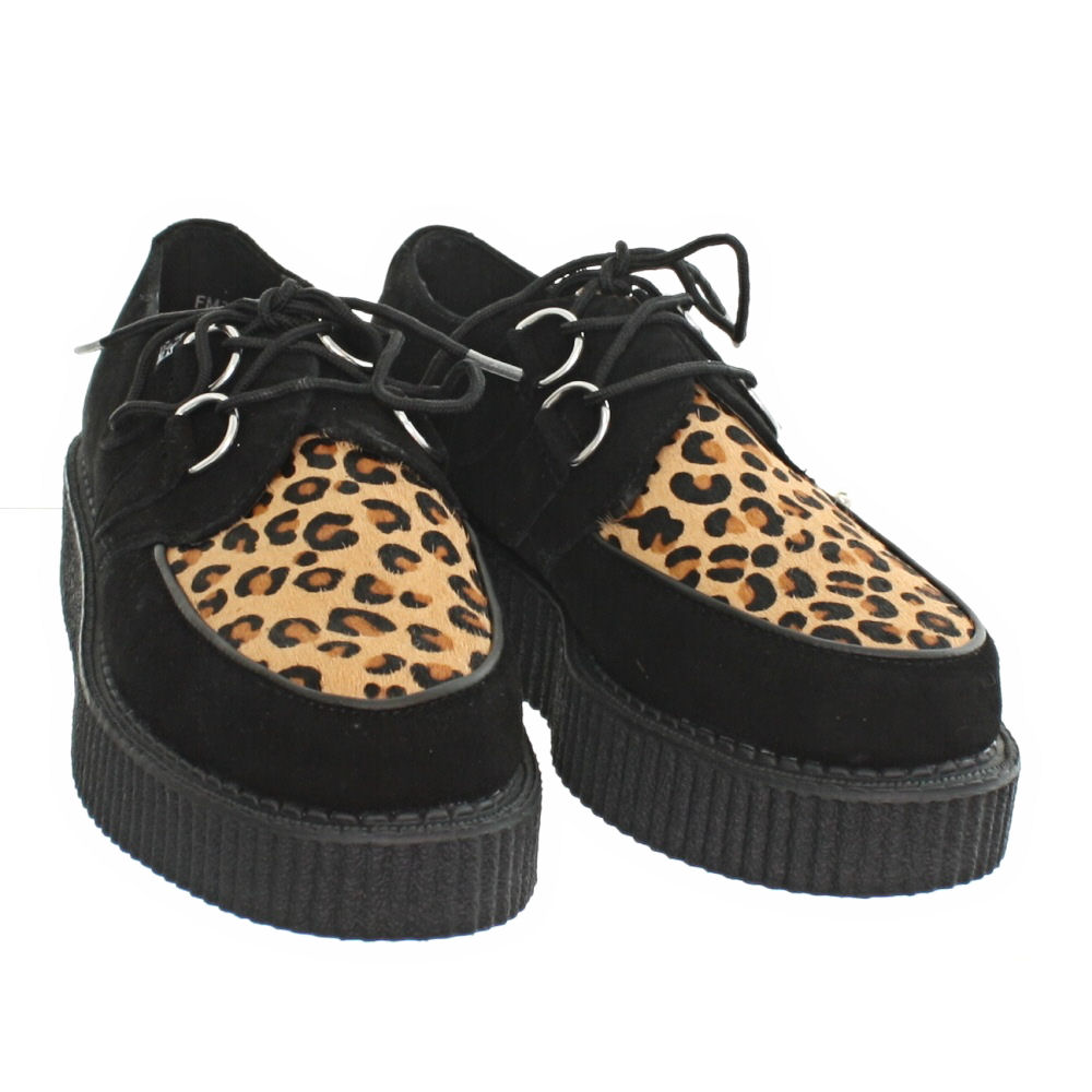 womens mens tuk shoes mondo lo suede black leopard brothel