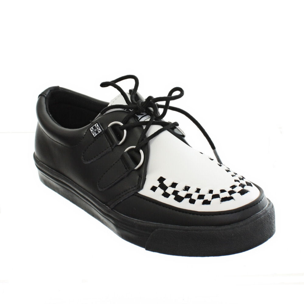 itm WOMENS MENS TUK SHOES BLACK AND WHITE LEATHER SNEAKER CREEPERS BROTHEL SIZE