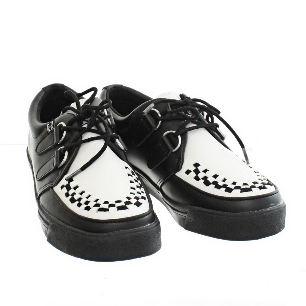 womens mens tuk shoes black and white leather sneaker