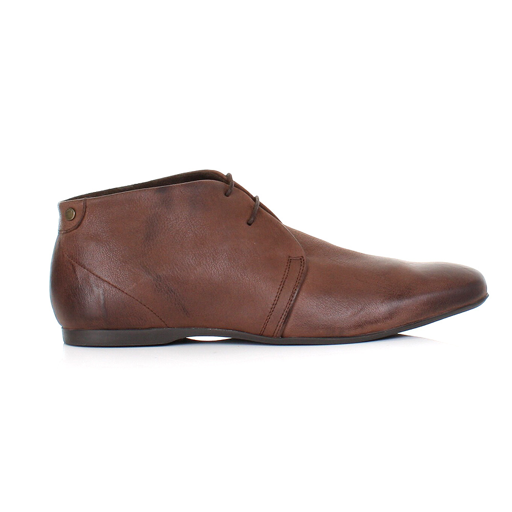 MENS BASE LONDON ZONE SOFTY BROWN LEATHER LACE UP ANKLE BOOTS ...