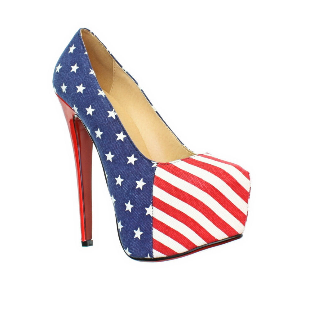 American Flag High Heel Shoes