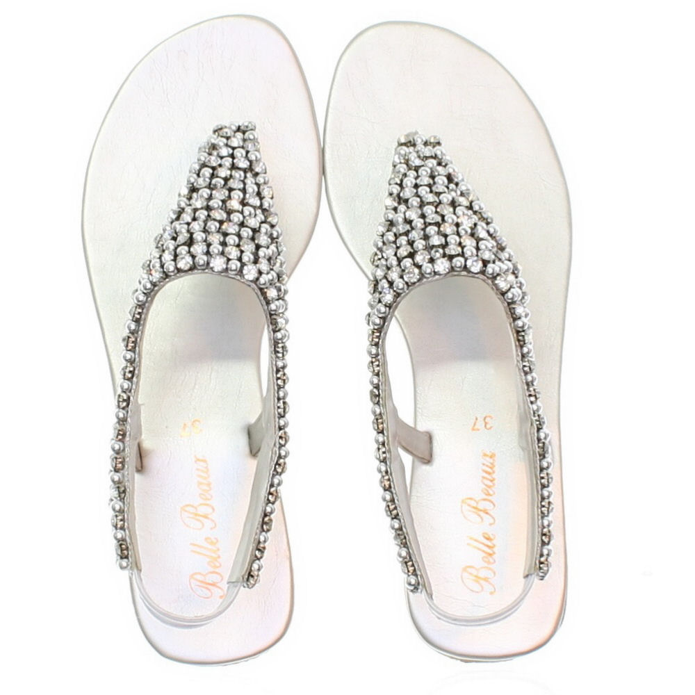 e0c1b08b44fe91 WOMENS FLAT DIAMANTE SPARKLY TOE POST SILVER PARTY WEDDING SANDALS ...