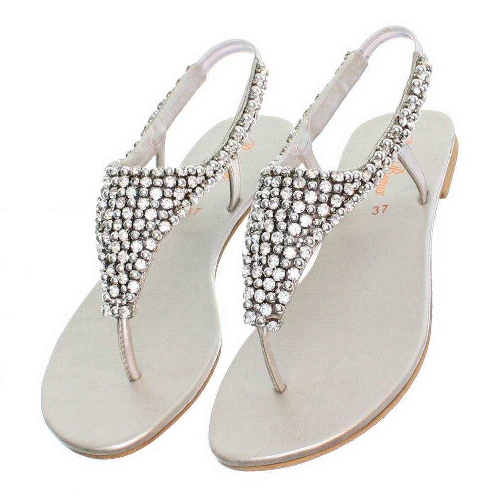 WOMENS FLAT DIAMANTE SPARKLY TOE POST SILVER PARTY WEDDING ...