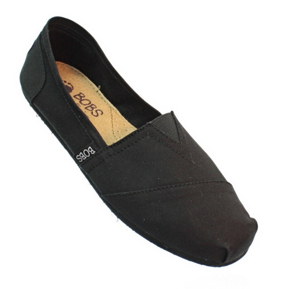 womens skechers black bobs earth day leather canvas
