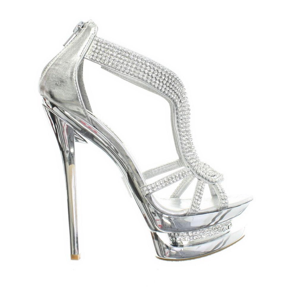 Strappy Silver Platform Heels