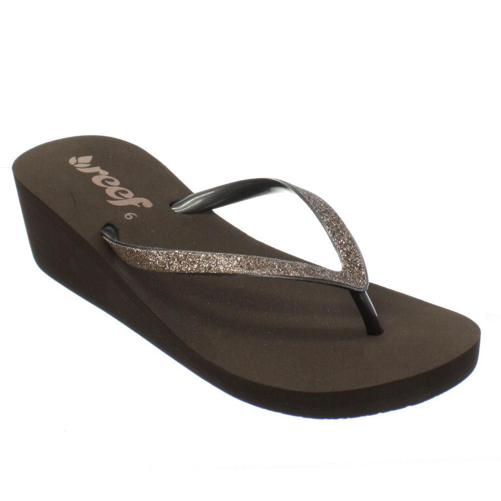 flip flops damen reef krystal star braun flach keilabsatz sandale 36 41 ebay. Black Bedroom Furniture Sets. Home Design Ideas