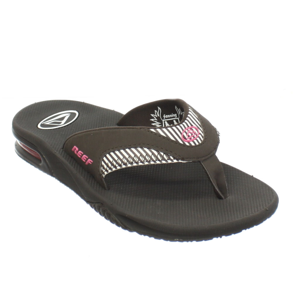 damen flip flops reef fanning braun rosa gestreift sandalen 34 41 ebay. Black Bedroom Furniture Sets. Home Design Ideas
