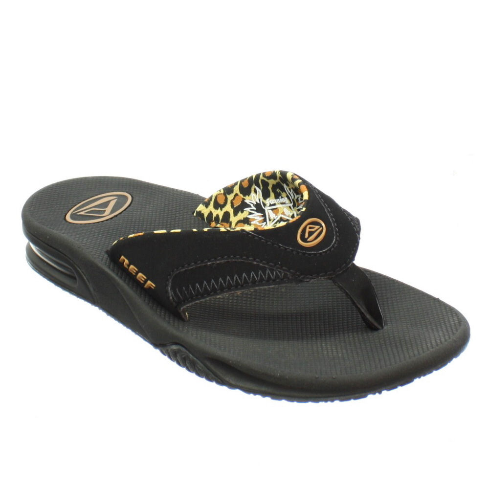 womens reef fanning black leopard surf sandals flip