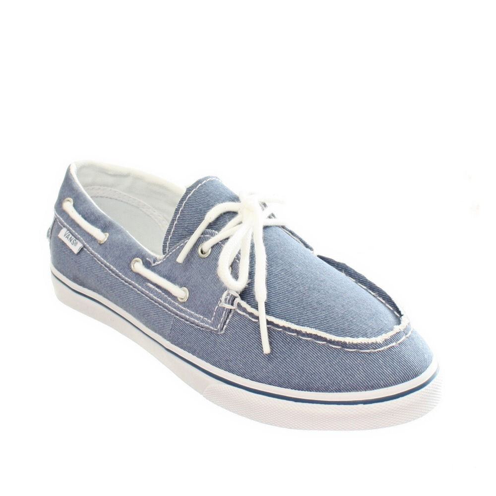 Womens Blue Canvas Boat Shoes