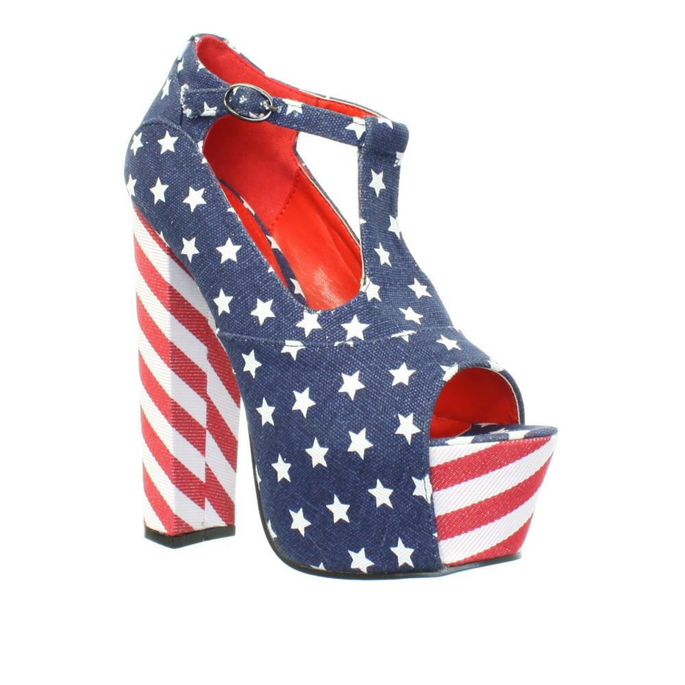 Womens Block Heel Peep Toe American Flag T Bar Platform