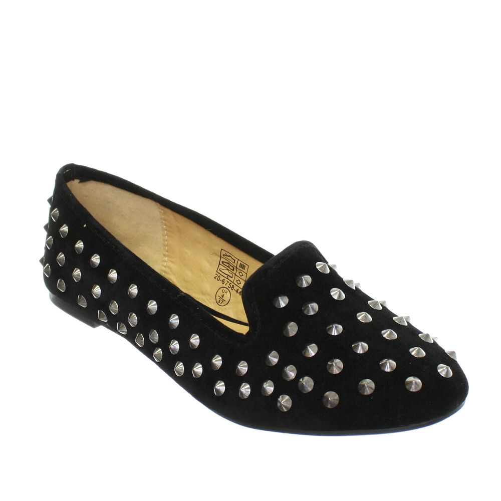 NEW WOMENS BLACK STUDDED  SLIPPERS LOAFERS SLIP ON PUMP SHOES AVAIL IN SIZE 3-8