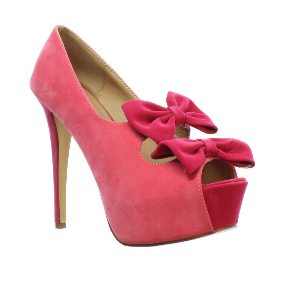 Pink Bow High Heels - Is Heel