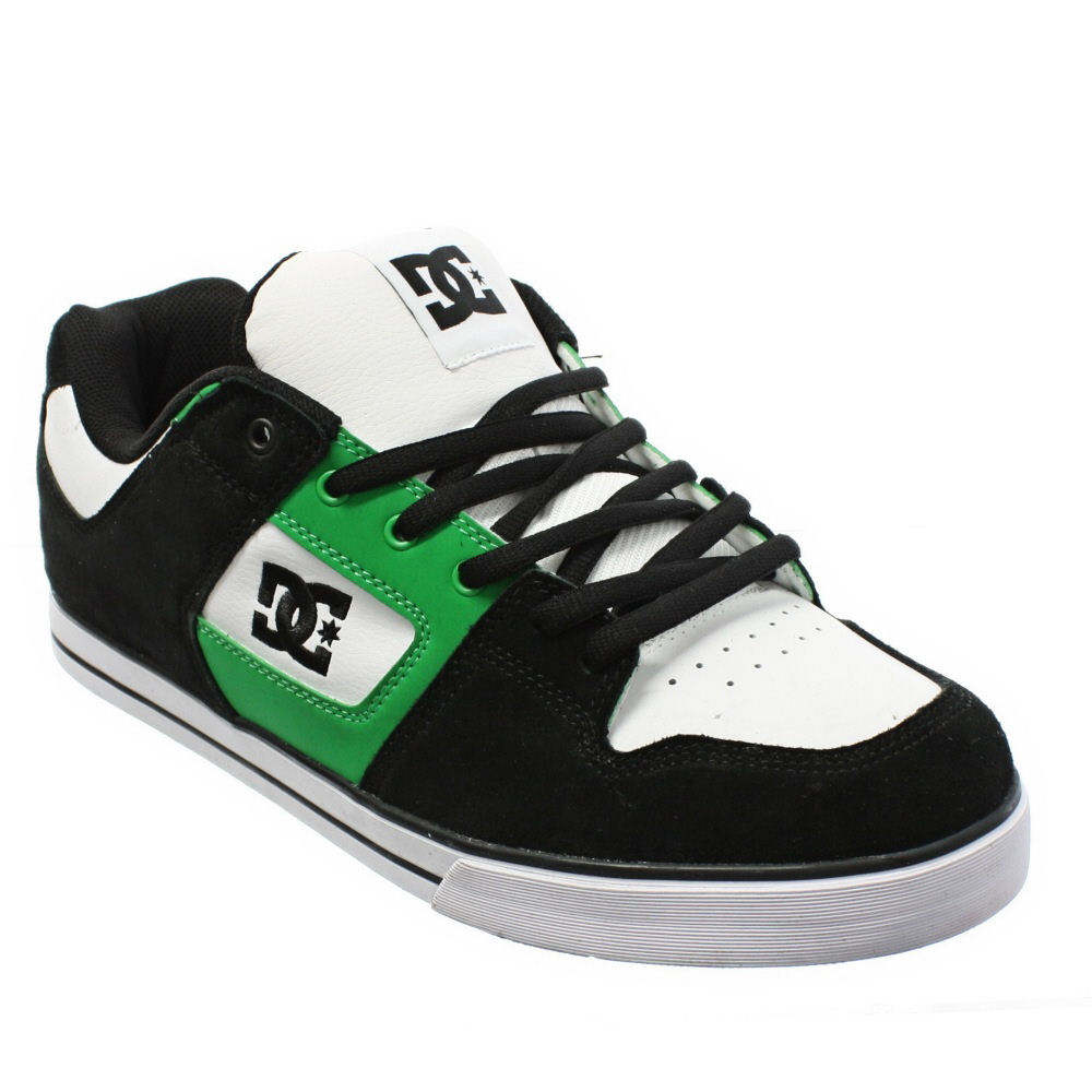 mens dc shoes slim white black green casual