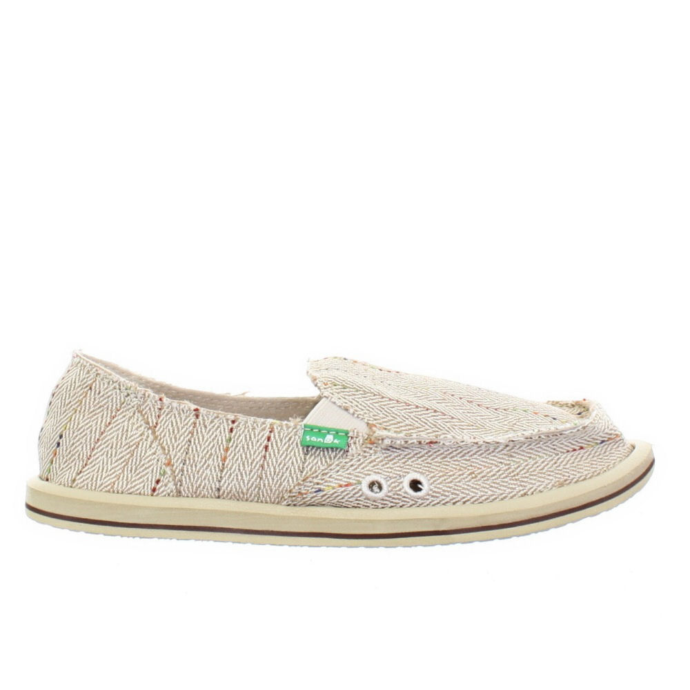 Womens Sanuk Donna Cream Loafers Deck Shoes Canvas Slip On