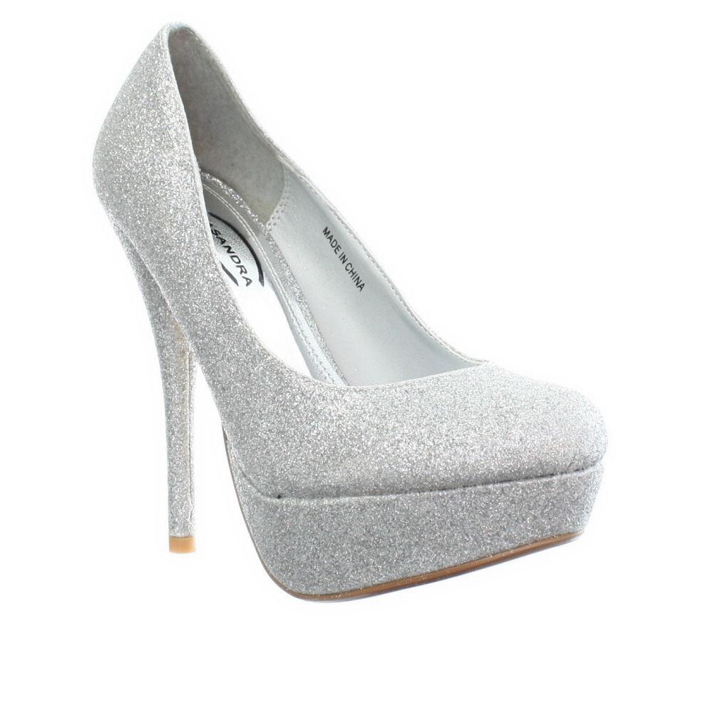 womens high heel platform silver glitter prom