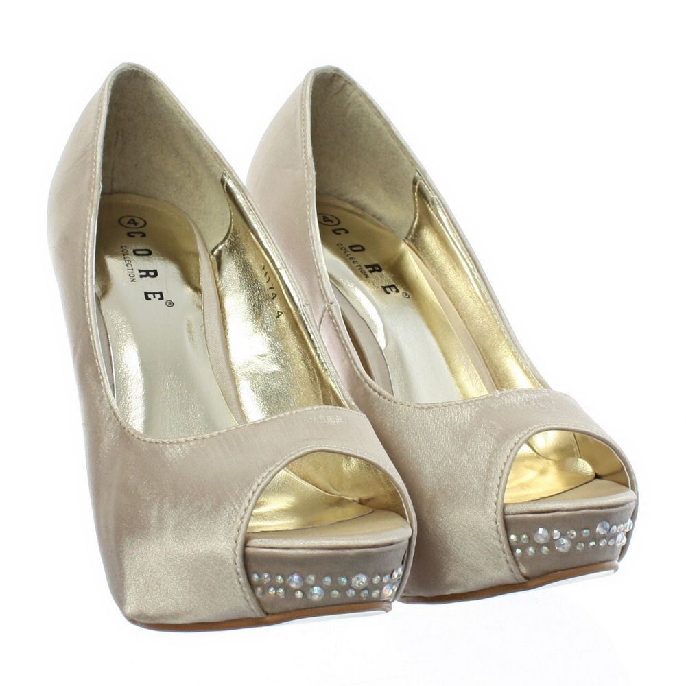 Gold High Heel Bridesmaid Name Champagne Party Wedding: WOMENS WEDDING PROM PARTY PEEP TOE GOLD CHAMPAGNE DIAMANTE