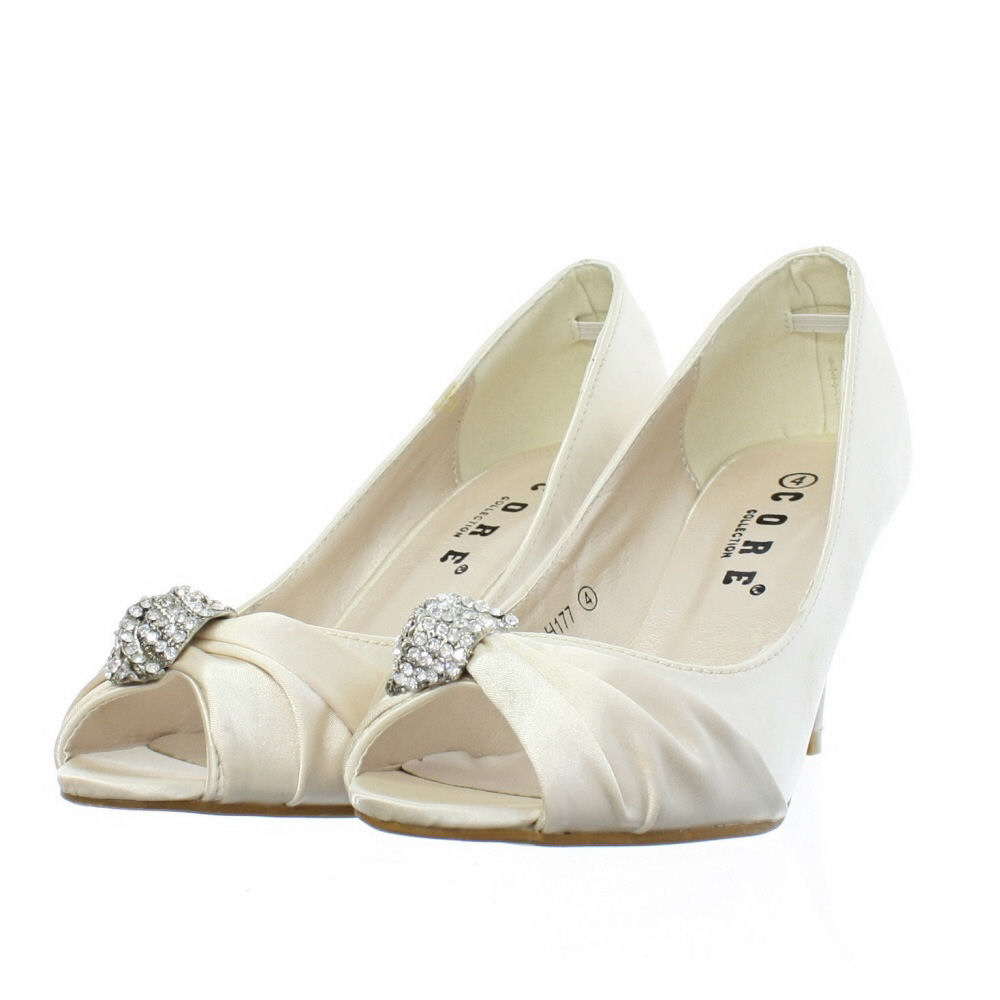 Womens Low Heel Peep Toe Diamante Brooch Wedding Bride