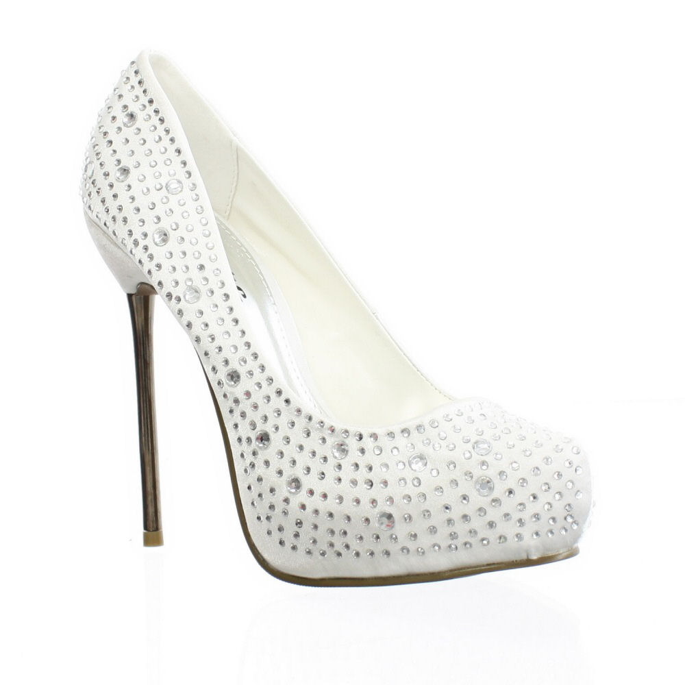 womens satin diamante spike heel wedding prom