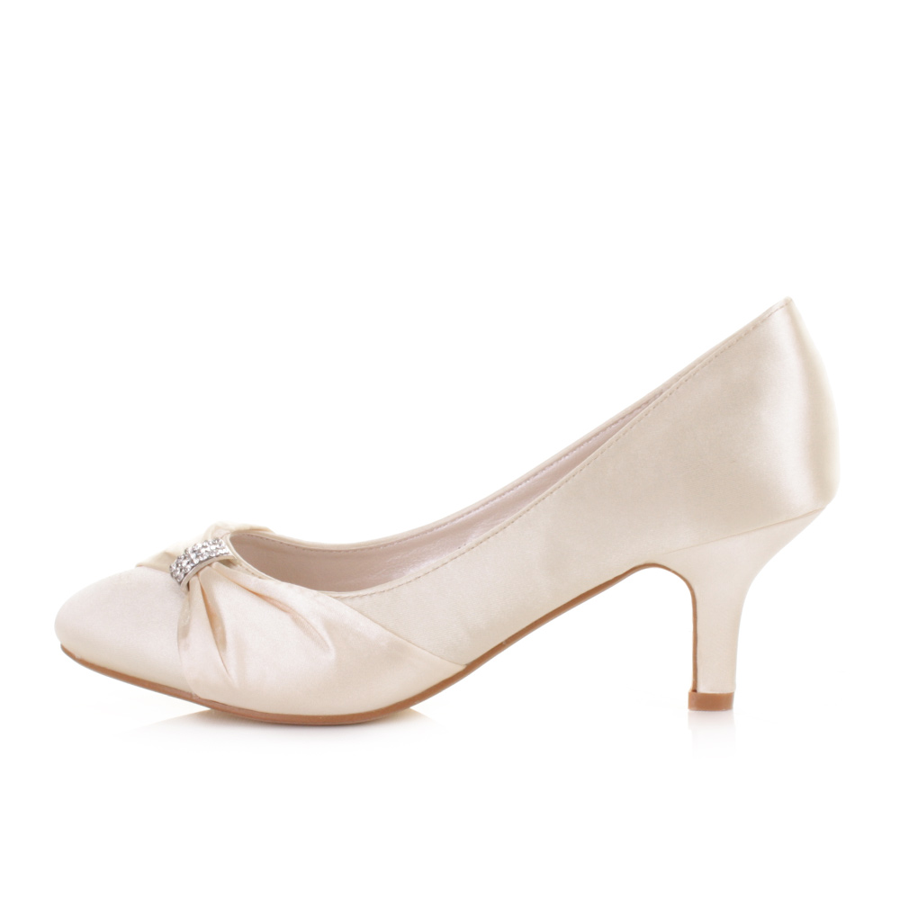 WOMENS LOW KITTEN HEEL BRIDAL WEDDING IVORY SATIN DIAMANTE COURT ...
