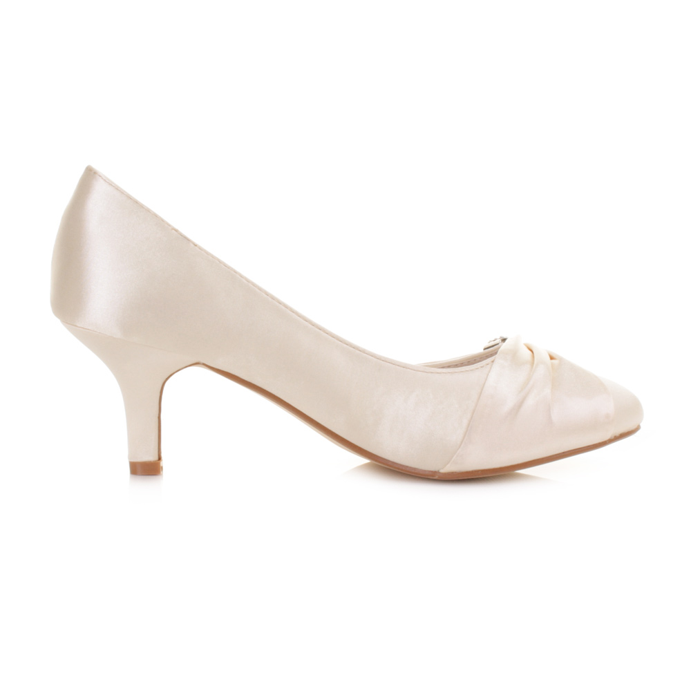 Ladies Low Kitten Heel Bridal Wedding Ivory Satin Diamante