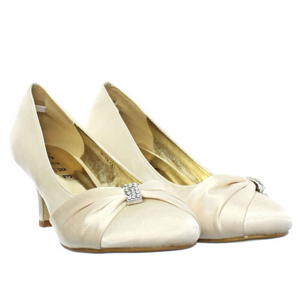 WOMENS LOW KITTEN HEEL BRIDAL WEDDING IVORY SATIN DIAMANTE