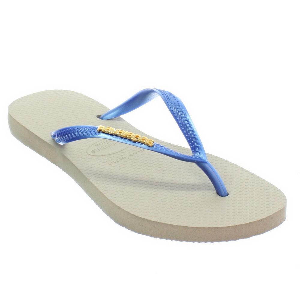 ac80fc25d03fbf WOMENS HAVAIANAS SLIM LOGO METALLIC SAND GREY BLUE LADIES FLIP FLOPS ...