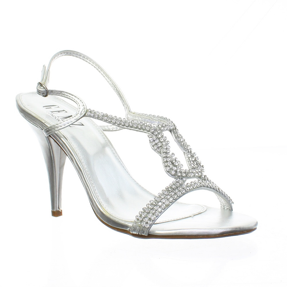 Silver Diamante Sandal Knot Strappy Womens Party Prom Wedding Shoes Size 5 10