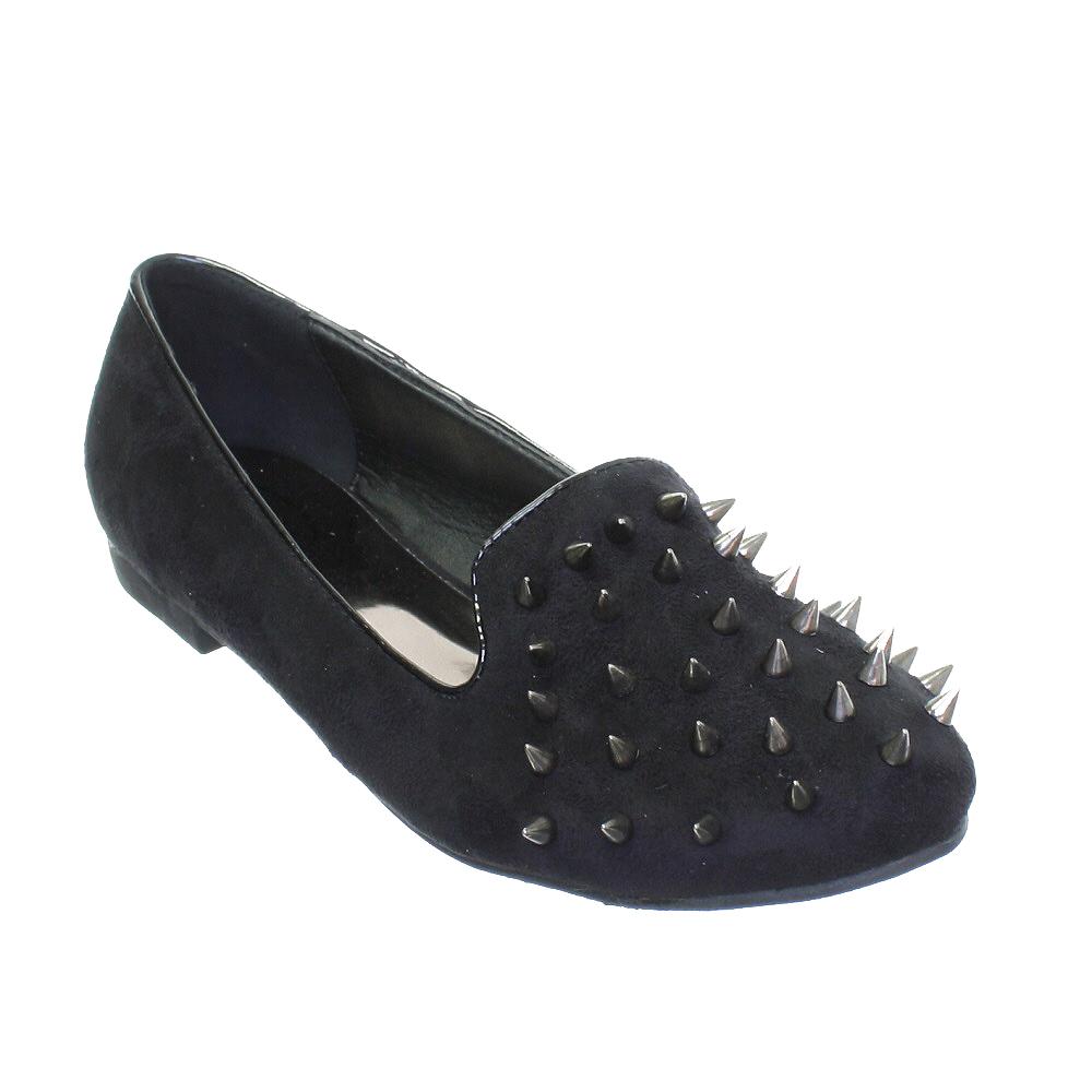 womens flat spike studded stud slipper loafer ballet pumps