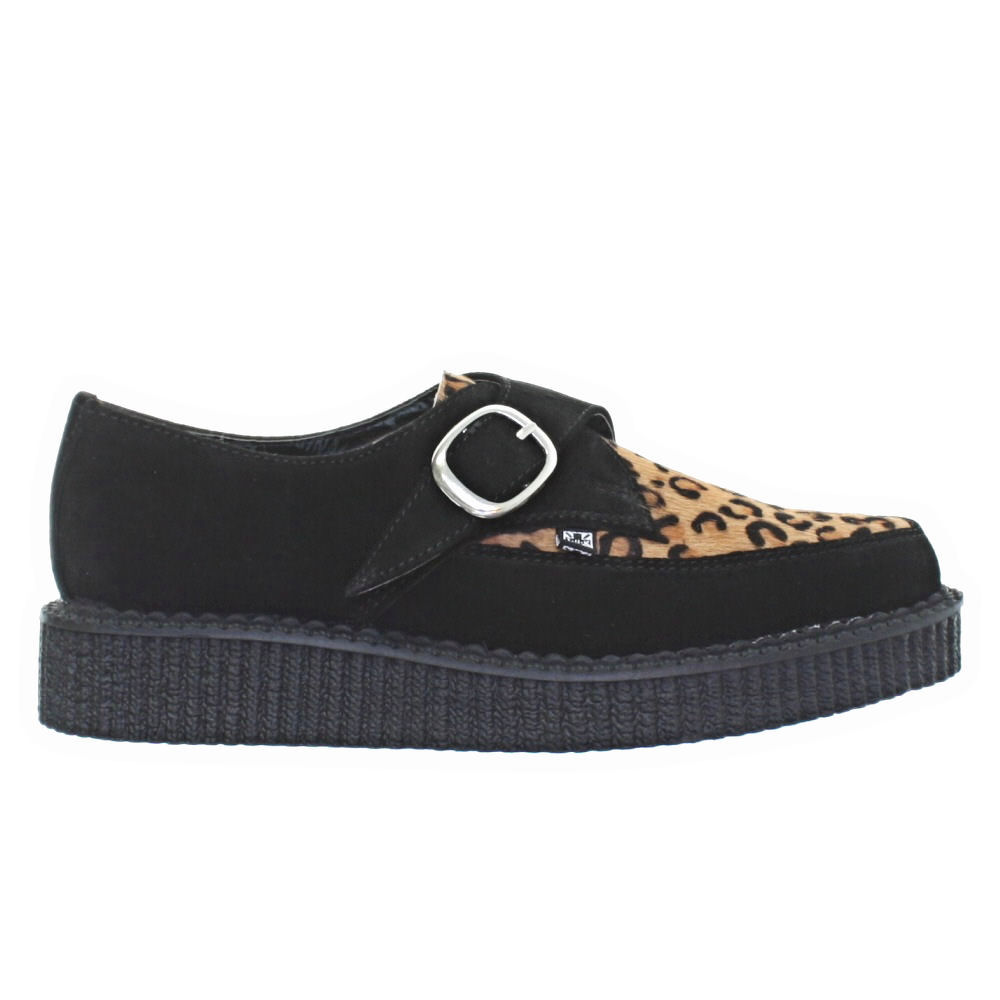 mens womens tuk shoes black suede leopard print pointed