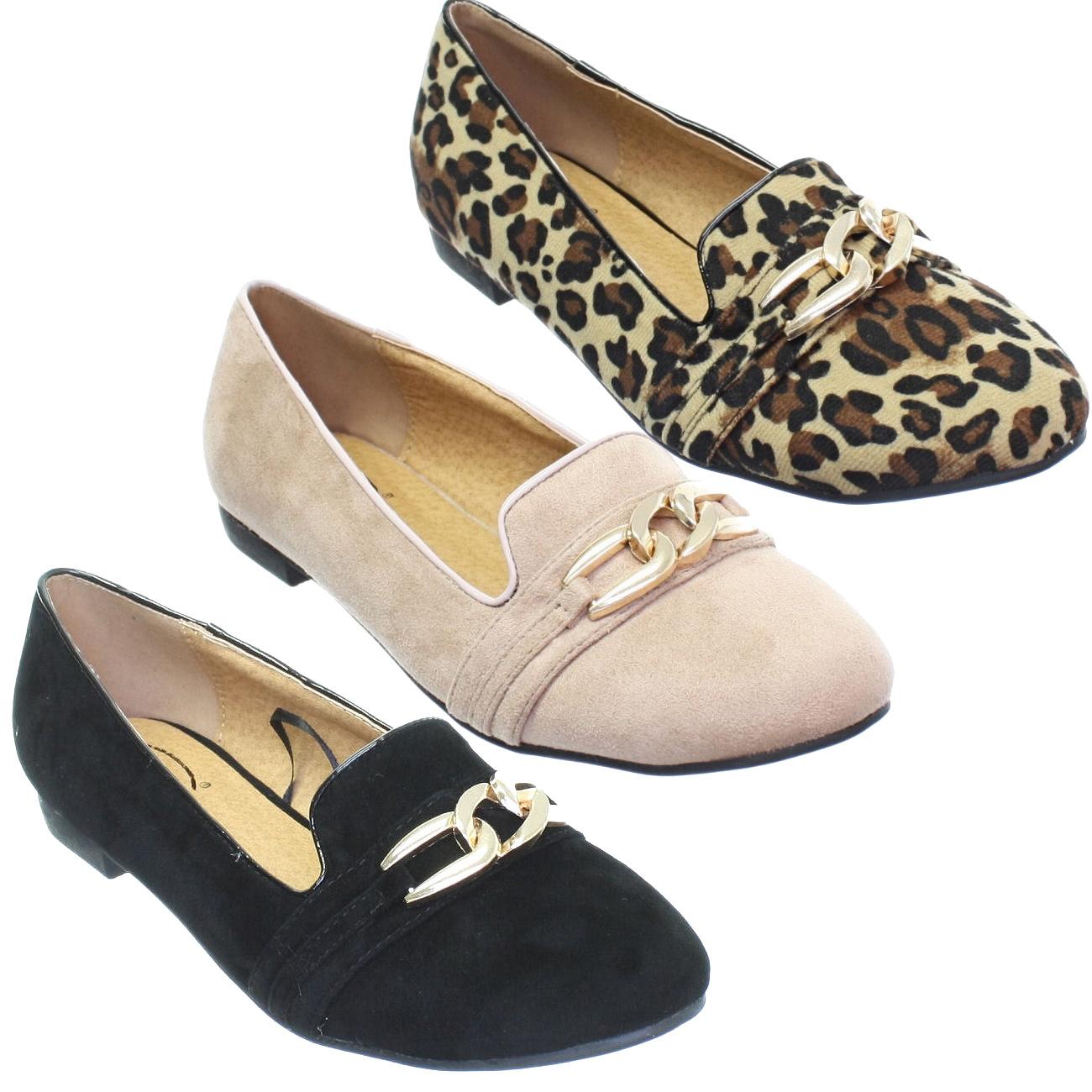 chaussure plat style mocassin femme interlinked boucle dore elegant 36 41. Black Bedroom Furniture Sets. Home Design Ideas