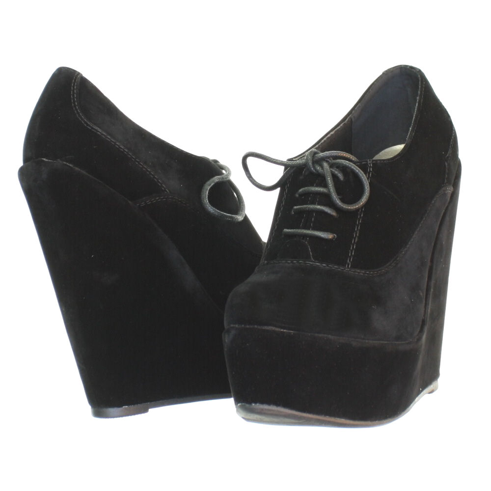 womens platform wedge heel low cut ankle shoe boots