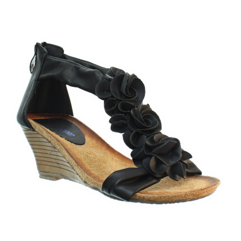 3928eff6900 Womens Low Wedge Soft Comfy Footbed Floral Strappy Ladies Sandals ...