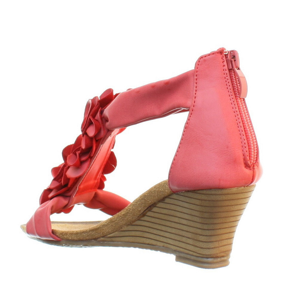 Womens Low Wedge Soft Comfy Footbed Floral Strappy Ladies ...