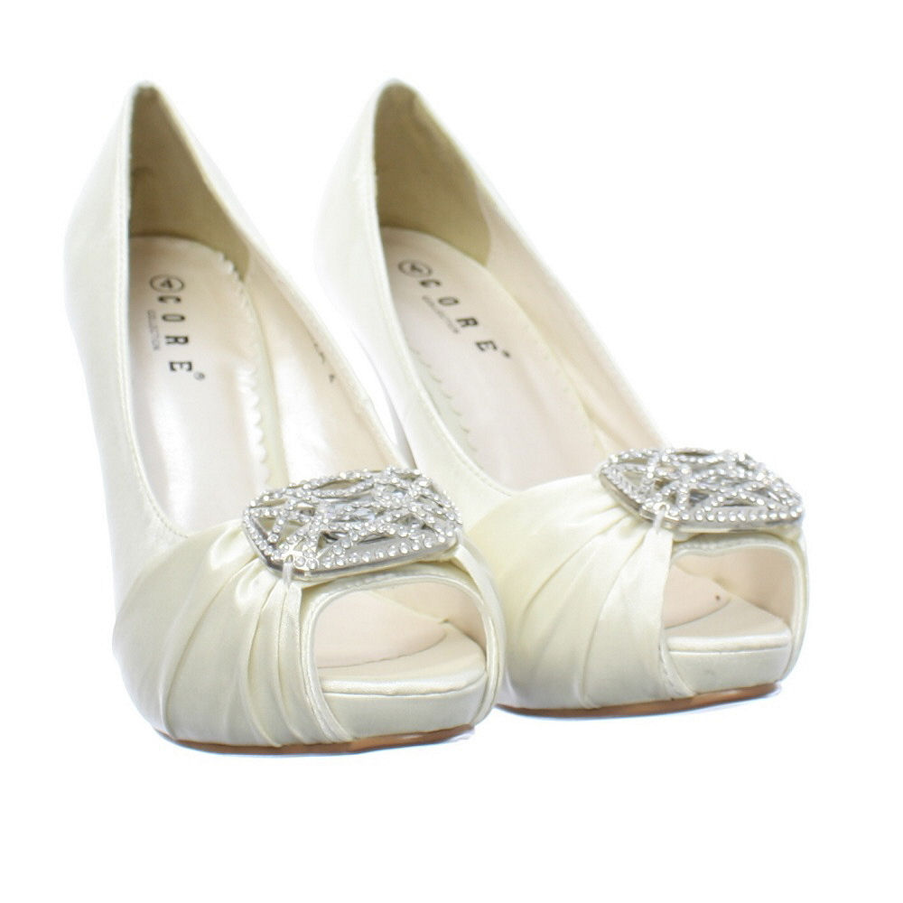 womens champagne ivory satin diamante peep toe wedding