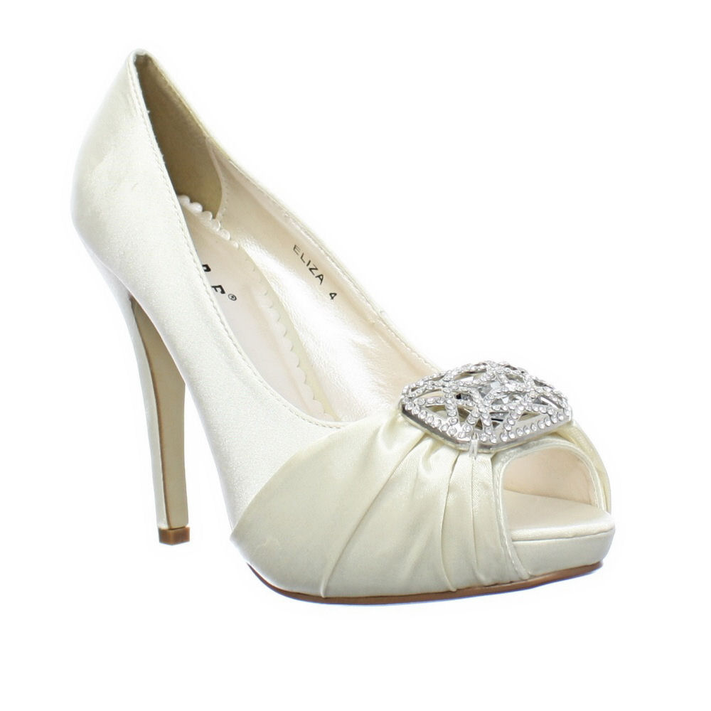 WOMENS CHAMPAGNE IVORY SATIN DIAMANTE PEEP TOE WEDDING BRIDAL SHOES SIZE 3 8