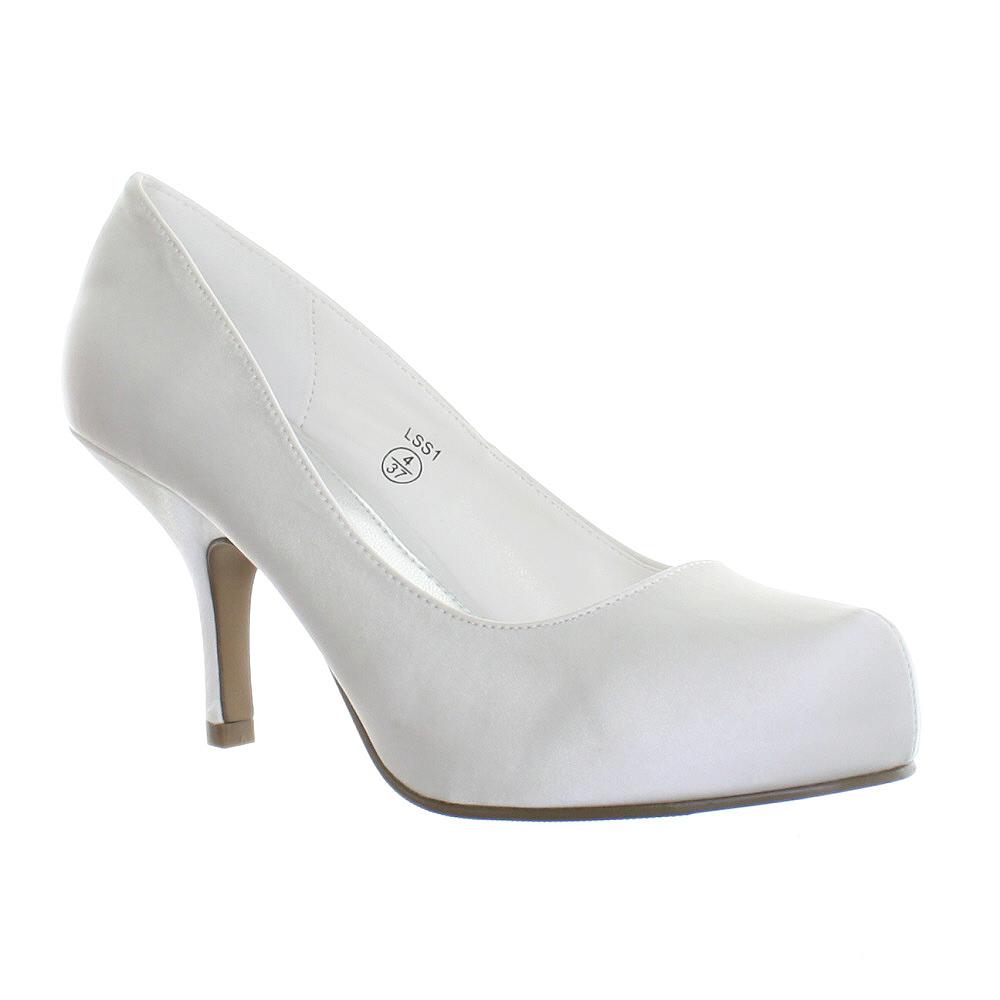 womens white satin low kitten heel wedding bridal