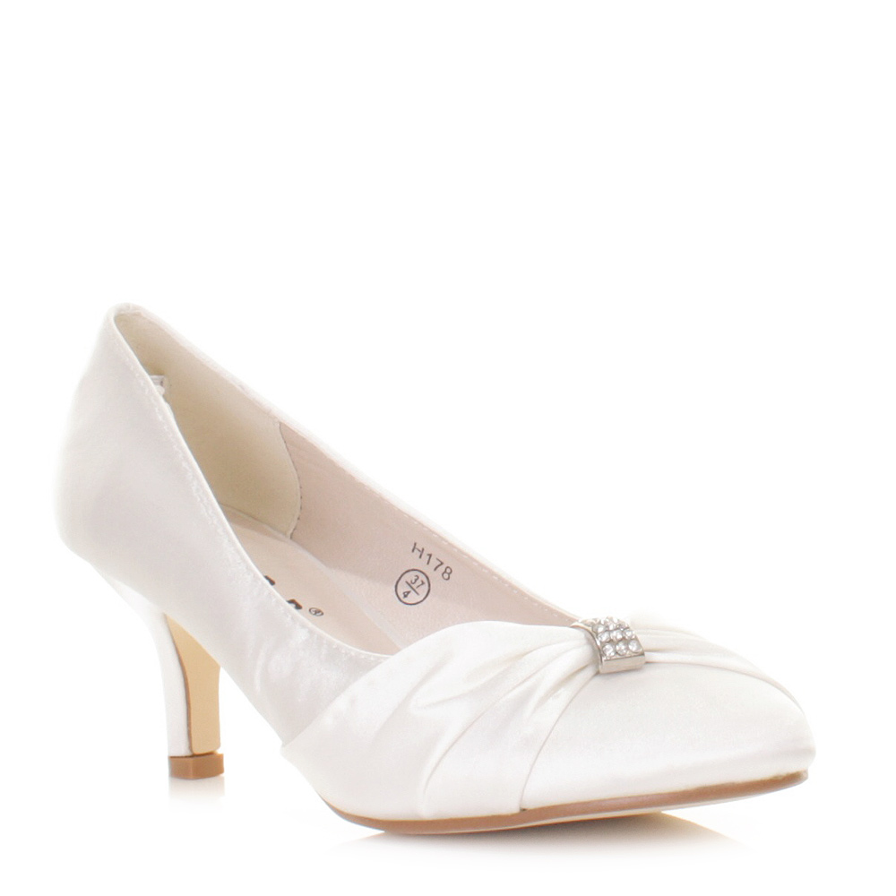 Womens Low Kitten Heel Bridal Wedding White Satin Diamante Court