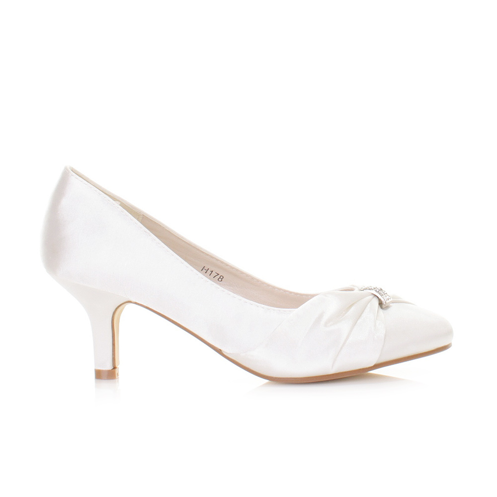 Satin Kitten Heel Wedding Shoes