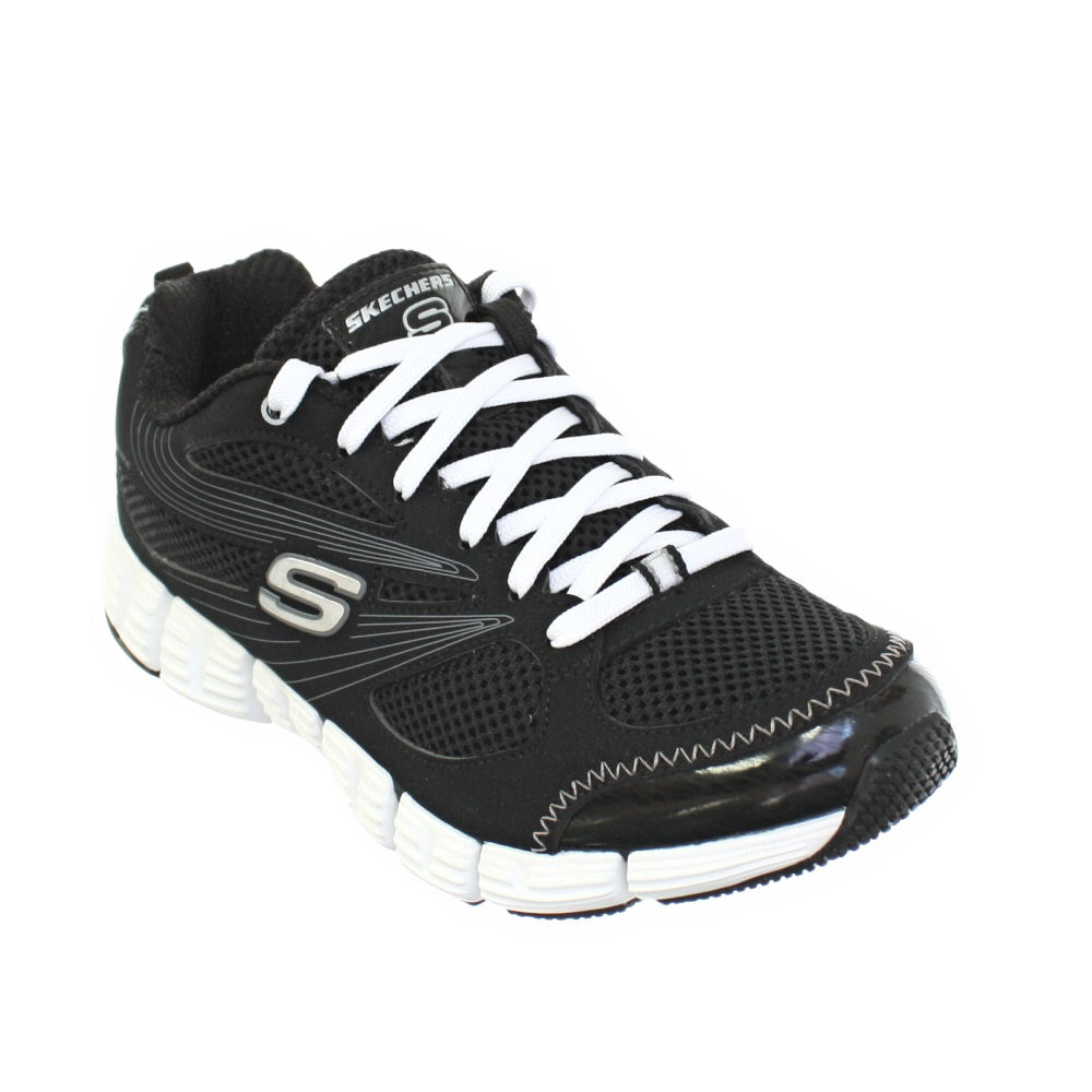 womens skechers stride black white lace up trainers