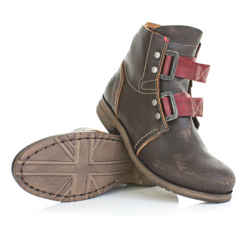 mens fly skinner brown leather trendy combat ankle