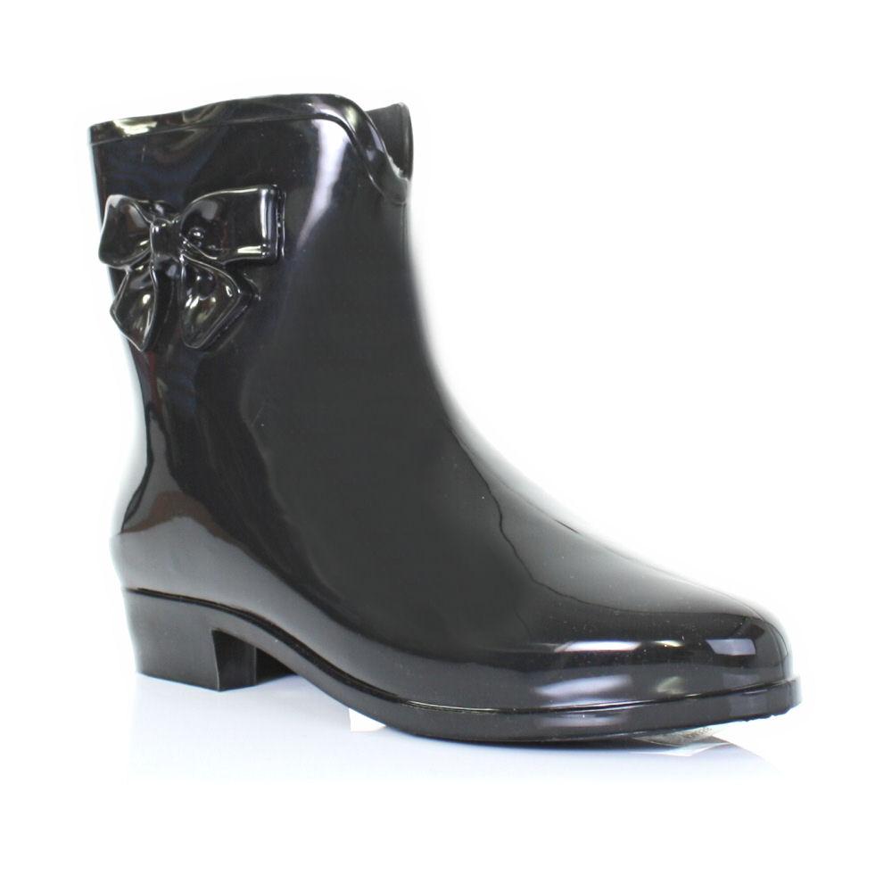 womens black mel shoes jelly bow wellies wellington