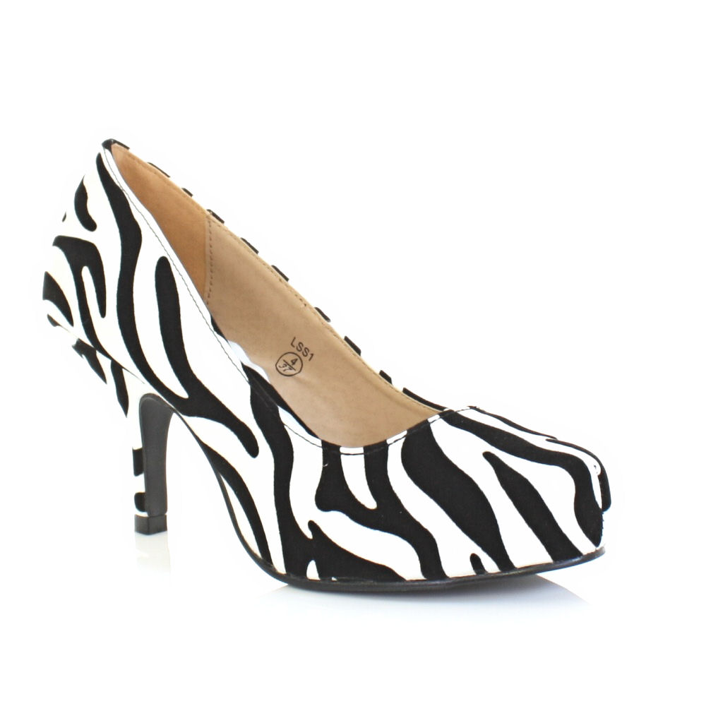 womens low heel zebra animal print kitten court