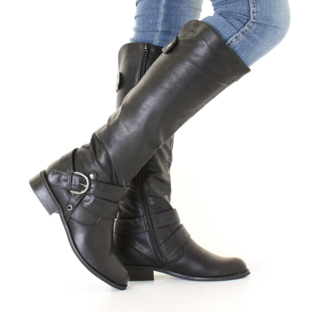 womens black leather style biker flat