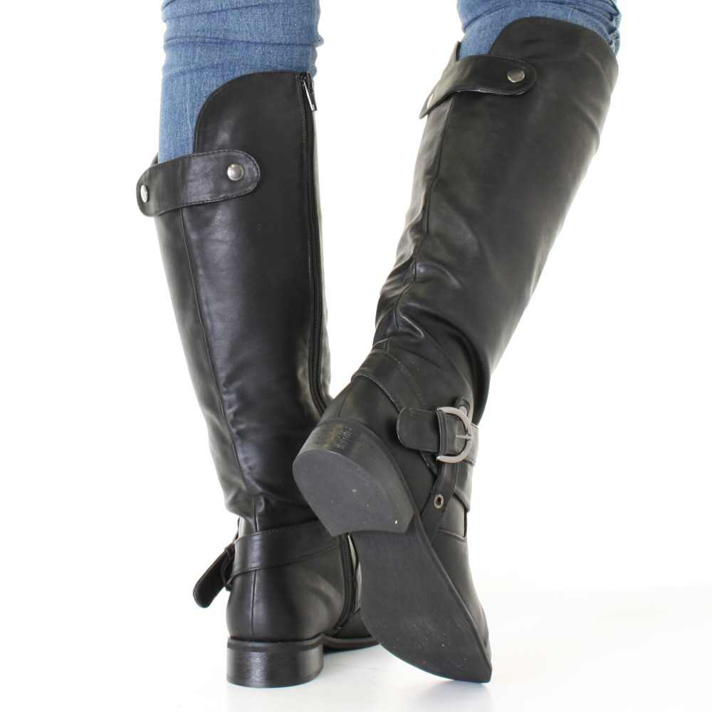 stiefel damen schwarz leder biker stil riemen flach kniehoch boots ebay. Black Bedroom Furniture Sets. Home Design Ideas