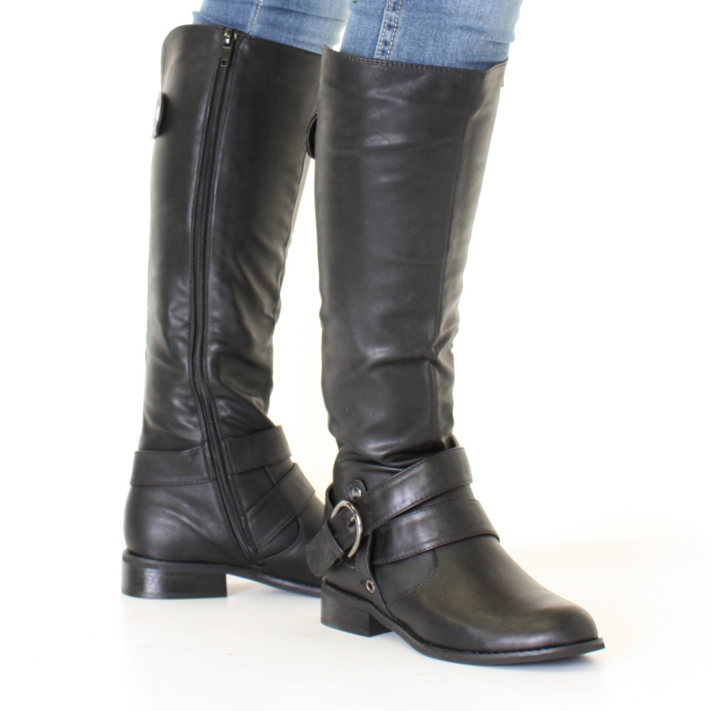 Awesome Womens Black Leather Style Buckle Lace Up Flat Pixie Ankle Boots - From SPYLOVEBUY UK