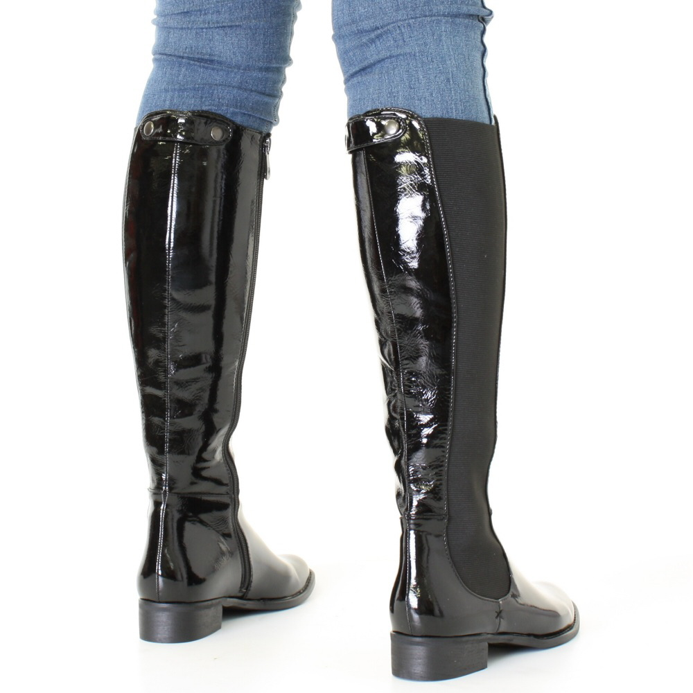womens black patent knee high flat chelsea style slim fit boots size 3 8 ebay. Black Bedroom Furniture Sets. Home Design Ideas